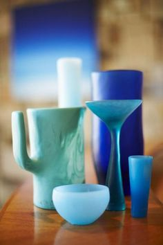 Drinking vessels by Dinosaur Designs Hamptons House, The Hamptons, Types Of Blue, Dinosaur Design, Shades Of Blue, Vases, Drinking, Kitchens, Dining Table