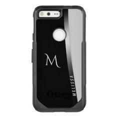 Elegant black white silver name and monogram OtterBox commuter google pixel case - black and white gifts unique special b&w style