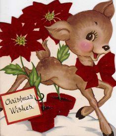 Vintage retro Christmas card reindeer deer by BigGDesigns on Etsy