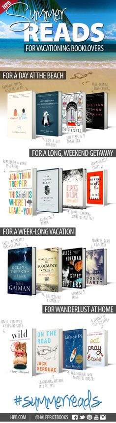 "Must-read books for summer 2014. I've already read ""Gone Girl"",  ""The Ocean at the End of the Lane"", and ""Wild"".  I think ""Glass Castle"" will be next!"