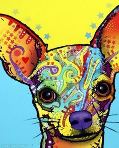 The random shapes inside the chihuahua make the picture fun and exciting.  Although the shapes are random they are strategically placed.  This painting is refreshing because it is cool to look at.