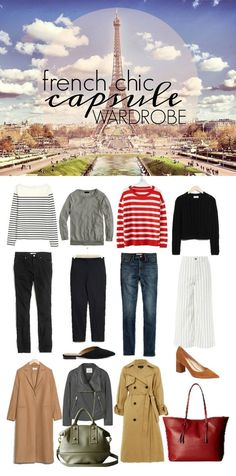 Discover a French Chic Capsule Wardrobe for those of us that want to channel French girl chic in our daily wardrobes. Stripes, neutrals and pops of red. French Chic Outfits, French Chic Fashion, French Capsule Wardrobe, Fall Wardrobe, Summer Minimalist, French Girls, All About Fashion, New Trends, Trendy Outfits