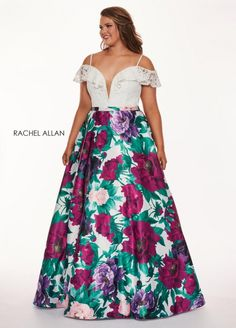 Style 6672 from Rachel Allan Curves is an off the shoulder V neck lace and floral print matte satin plus size prom gown with spaghetti strap and shoulder cutouts.