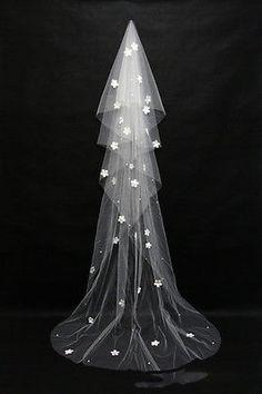 Camadas Casamento Véu de noiva de renda branco/marfim Catedral comprimento birdcag Edge Noiva