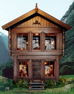 La Cage Norge made by a very talented d. Anne Ruff Miniatures. I have pinned the inside of all rooms/furniture also. Incredible.