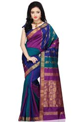 Dark blue, dark royal blue and dark Purple art silk zari woven saree. As shown in the below thumbnail image purple art silk blouse fabric is available which can be customized as per your style or pattern subject to fabric limitation. Blouse shown on the model is for photography purpose. (Slight variation in color is possible.)