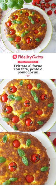 Frittata al forno con feta, pesto e pomodorini