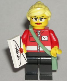 LEGO Postal Worker Mailman MINIFIGURE Girl Female Glasses/Letter/Blonde Ponytail #LEGO Lego For Sale, Lego Custom Minifigures, Blonde Ponytail, Lego People, Prince Of Persia, Lego Group, Lego Parts, Cool Lego, Indiana Jones