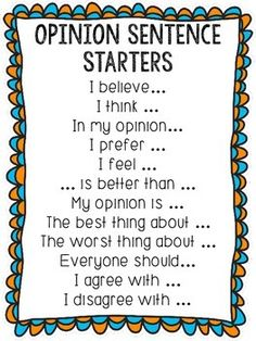Use these opinion starters during reading, guided reading, discussions, writing, etc.Comes with Anchor chart and small sentence starter cards for each opinion sentence.