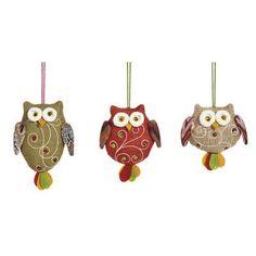Evergreen Enterprises, Inc 3 Piece Fabric with Bead Accent Owl Ornament Set