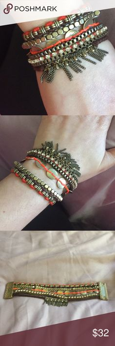 Silpada bracelet New in excellent condition brass based with textile features this is gold tone I will include a necklace that goes with it nicely although it is not the same tone of metal Shown in last image bracelet is 7 1/2 inches long. Silpada Jewelry Bracelets