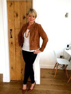 Brown suede jacket, black skinny jeans and pumps.  Nikki Garnett, midlifechic