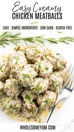 Healthy Ground Chicken Meatballs Recipe in Creamy Sauce - A healthy ground chicken meatballs recipe with common ingredients + no flour! These low carb baked chicken meatballs in creamy sauce with rosemary and garlic make satisfying appetizers or a main dish. They also happen to be keto low carb chicken meatballs, too! #wholesomeyum #lowcarb #keto #meatballs #dinner