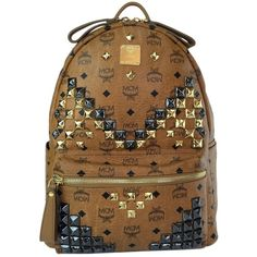 Pre-owned Mcm Stark M Stud Medium In Backpack ($498) ❤ liked on Polyvore featuring bags, cognac, laptop pocket backpack, laptop backpacks, backpacks bags, studded backpack and mcm backpack