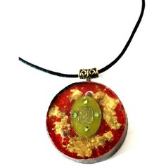 Orgonite pendant-SHUNGIT- Magic-Red-Shield Mars-Gold-protection-energy... ($36) ❤ liked on Polyvore featuring orgonitheka
