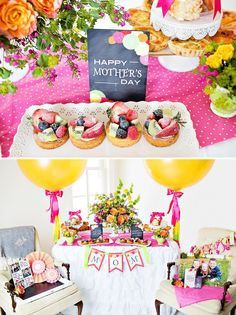 """Shower mom with dozens of gifts this Mother's Day. We love this bright and happy """"Coffee with Mom"""" brunch featuring Tiny Prints gifts and more. Happy Mothers Day Mom, Best Mothers Day Gifts, Mothers Day Brunch, Brunch Party, Party Fun, Jumbo Balloons, Coffee Theme, Happy Coffee, Thanks Mom"""