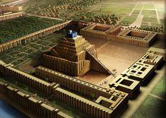 Zigurat y ciudad de Babilonia - dibujo de reconstrucción