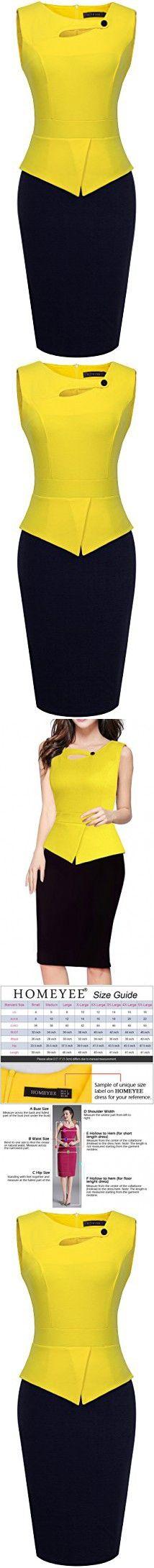 HOMEYEE Women's Elegant Chic Bodycon Formal Dress B288 (M, Yellow + Black)