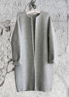 Купить Пальто Оверсайз Вязаное Норка (Серый цвет) - серый, однотонный, пальто оверсайз, оверсайз
