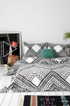 Magical Thinking Mirrored Sumatra Duvet Cover -- patterning / b&w