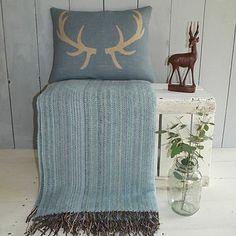 'Antler' Cushion And Sky Blue Wool Throw - cushions Throw Cushions, Throw Blankets, Country Crafts, Blue Wool, Soft Furnishings, Cushion Covers, Lounge, Sky, Bedroom