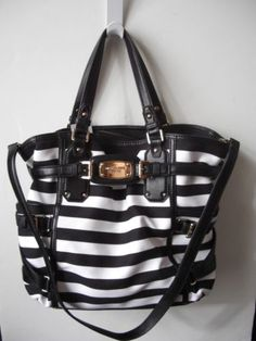 Michael-Kors-Gansevoort-Large-Canvas-Leather-Black-White-Tote-NWT-498