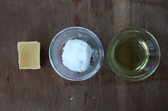Unscented Lotion Bars Recipe, beeswax, coconut oil, grapeseed oil.
