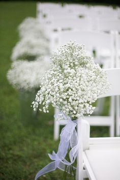 Simple baby's breath aisle marker