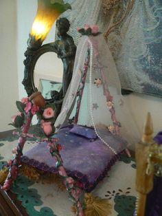 Handmade Beautiful Doll House or Fairy Bed. $50.00, via Etsy.