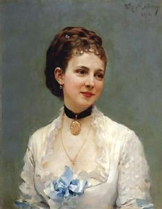 Raimundo de Madrazo y Garreta (Spanish 1841–1920) [Salon, Portraiture] Young Lady with a Blue Ribbon.