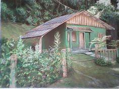 Frente de Chalé de pousada em Penedo, desenho a pastel seco por J. Carlos