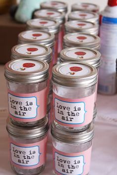 When I saw this I thought it was a jar of air as a shower favor-- but apparently it's to smoosh in cake to take home. I think I prefer the jar of air.