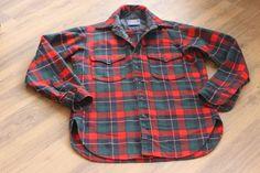 Pendleton Woolen Mills Red Green Plaid Button Down Shirt Sz.15 Vintage $129 (t) #Pendleton