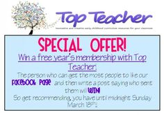 Win a free year's membership with Top Teacher. Head to our Facebook Page and then get your friends to!