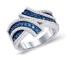 Blue and White Diamond Fashion Ring Band 10K White Gold (0.80 ct.tw.) #Diamond #fashion #Jewelry jeweltie.com