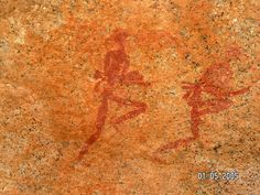 running or dancing figures, and right, the landscape in the area of this painting.     Photo: Jack, 1st May 2005