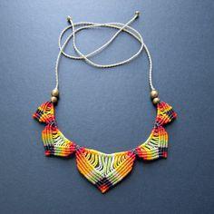multi colored macrame necklace bohemian hippie micro macrame lotus necklace
