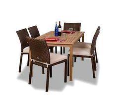 7-Piece Wood Wicker Rectangular Dining Set Outdoor Patio Deck Garden Furniture