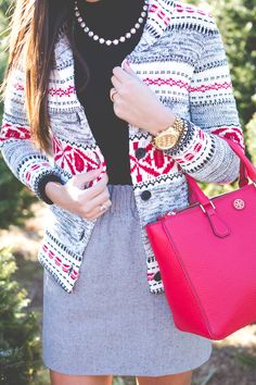 fair isle cardigan, red hunter boots, christmas tree farm, red tory burch tote // grace wainwright from a southern drawl