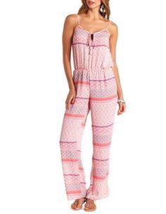 tribal print spaghetti strap jumpsuit
