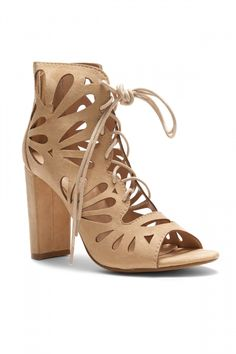 8f2e3331a4d49 HerStyle Sbbicca Laser Cut Heeled Booties (Nude)
