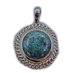 Colgante de plata con crisocola o turquesa peruana. www.ccusi.com