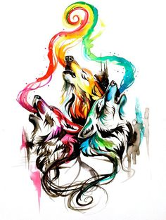 Beautiful b/w with touches of colour - wolves