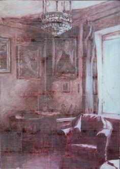 Magda Jarzabek, O.T., Nicht meine Erinnerungen 2015, Öl und Druckfarbe auf Pappe, 119 x 85 cm