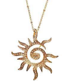 Another great find on #zulily! Yellow Gold Crystal Blazing Sun Pendant Necklace #zulilyfinds