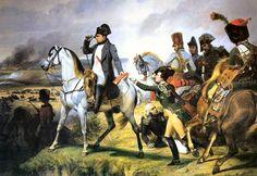 """La Bataille de Wagram, par Horace Vernet 1836 (musée de Versailles). Napoléon observe du haut d'une éminence l'effet que produit la batterie de 100 pièces d'artillerie commandée par le général Lauriston. A peu de distance, Bessières, duc d'Istrie, est blessé au moment où il dispose l'attaque de la cavalerie. La bataille de Wagram (5-6 juillet 1809) gagnée par Napoléon I° contre les Autrichiens commandés par l""""archiduc Charles dont les troupes,dans la plaine, furent enfoncées par le centre."""