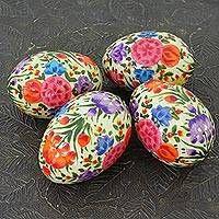 Papier mache decorative eggs, 'Floral Blast' (set of 4)