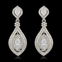 "PAIR Crystal Rhinestone Bridal Drop Chandelier Prom Wedding gauges plugs 2g 0g 00g 7/16"" 1/2"" 6mm 8mm 9mm 11mm 12mm"