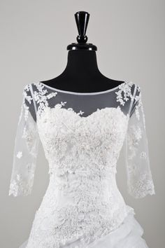 Sweetheart Gowns wedding accessories style A070 Beaded Alencon lace and tulle jacket with Sabrina neckline and three quarter length sleeves