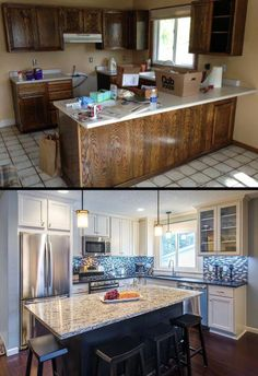 Browse photos of Small kitchen designs. Discover inspiration for your Small kitc… Browse photos of Small kitchen designs. Discover inspiration for your Small kitchen remodel or upgrade with ideas for storage, organization, layout and decor. Pin: 529 x 772 New Kitchen Cabinets, Ikea Kitchen, Oak Cabinets, Kitchen Wood, Kitchen Sinks, Cupboards, Kitchen Dining, Kitchen Appliances, Cuisines Design